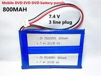 Envío libre 7.4 V 555285 polímero de EVD DVD, paneles de baterías de uso de la máquina de DVD portátil 552685*2 800 mah