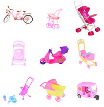 Mini Baby Walker Stroller Carriages Shopping Cart Dolls For Mini Dolls Children Girl Furniture Doll Kids Toy Dollhouse Furniture(China)