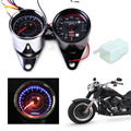 Universal Motorcycle LED Tachometer+Odometer 0~160km/h Speedometer Gauge with Indicator Light Kit Reset Switch for Harley Bobber