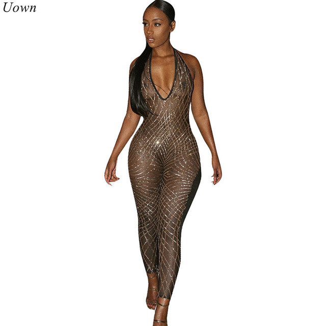 b9402b066b6d Sexy Stretch Backless Black Gold Sequin Jumpsuits Summer V-Neck Halter  Skinny Mesh See Through Sleeveless Rompers Clubwear