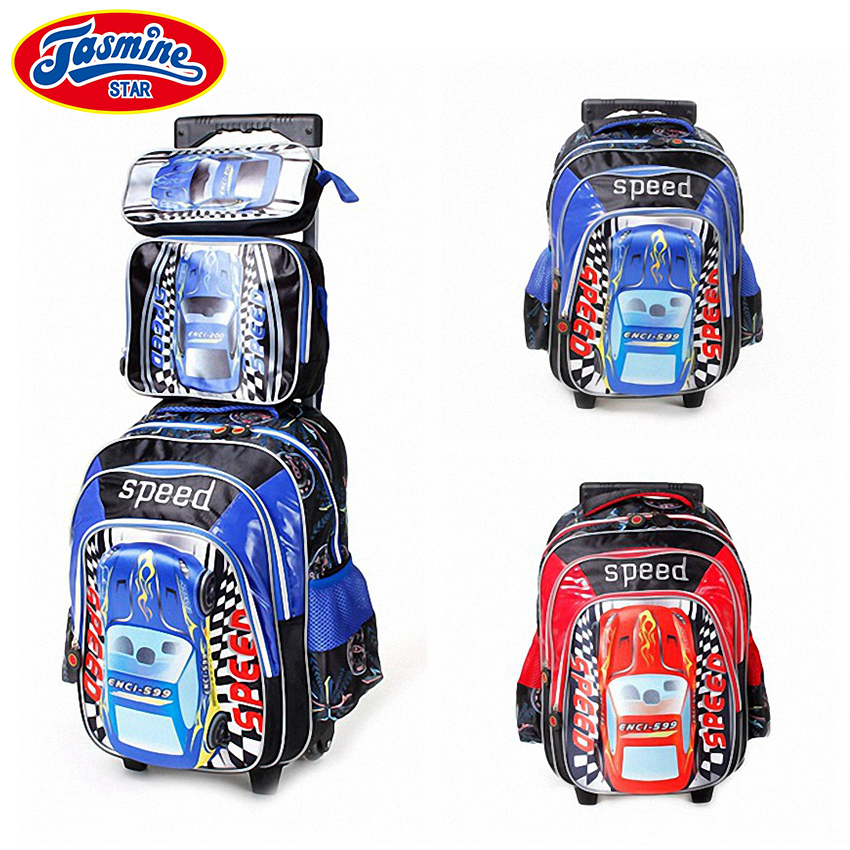 ФОТО JASMINESTAR 3PCS Children School Bags Wheeled Trolley Backpack Waterproof Student Grade 1-3-6 Kids Race Car School Bags For Boys