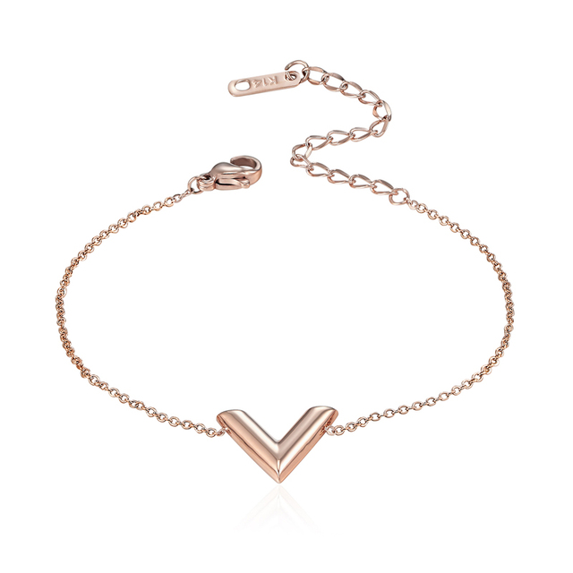 New Arrival Fashion 3 Colors Stereoscopic V Charm Bracelet For Woman Anium Steel Luxury Brands Jewelry