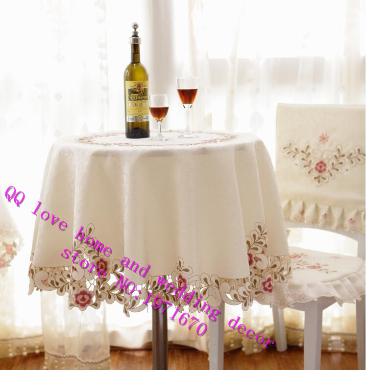 European Pastoral Square Embroidered Round Table Cloth Seat Cover Fabric  Anti Scald Simple Modern Small Tea Table Cloth In Tablecloths From Home U0026  Garden On ...