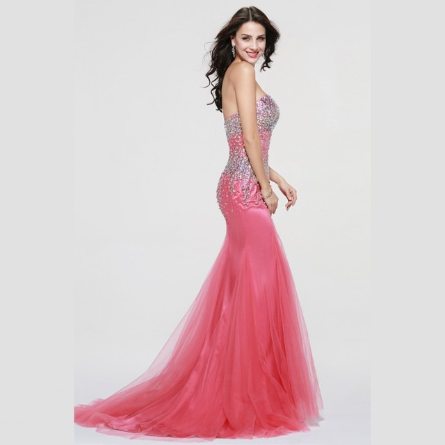 Online Shop 2017 Sparkle Crystals Pink African Prom Dresses Mermaid ...