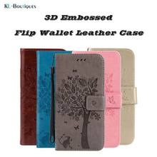 For LG Leon 4G LTE C40 H324 H340N H320 Coque Cartoon Cat Tree Embossed Stand Book Flip Wallet Leather Cover Soft TPU Phone Case(China)
