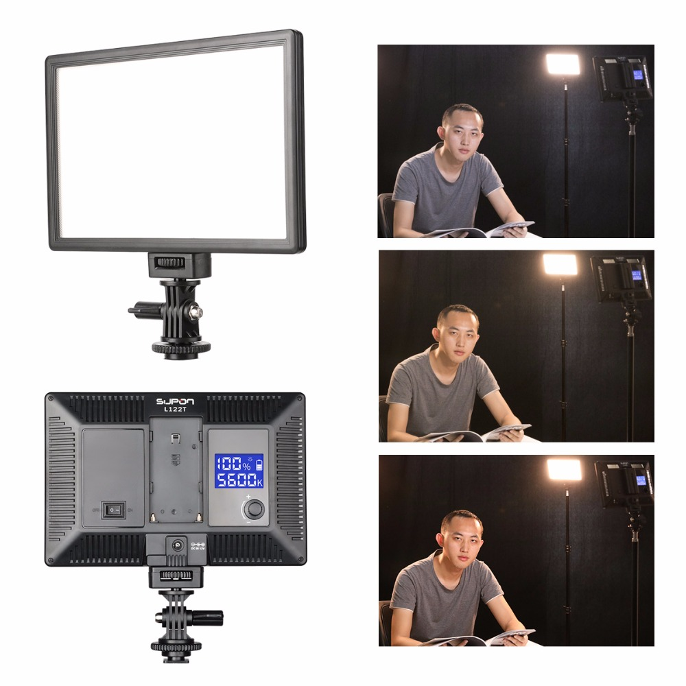 SUPON L122T LED 3300K-5600K Ultra delgado LCD Bi-Color & Dimmable Studio Panel de lámpara de luz de video para cámara DV Videocámara