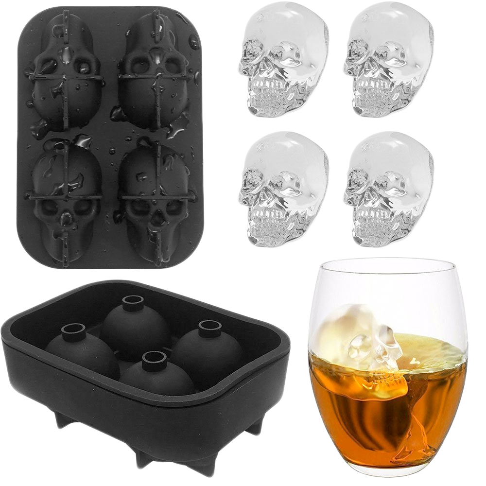 G&T 3D <font><b>Ice</b></font> Cube Maker Skull Shape Bar Party Mold Silicone Tray Chocolate Mould Whiskey Wine Cocktail Skeleton <font><b>Ice</b></font> Cream DIY Tool