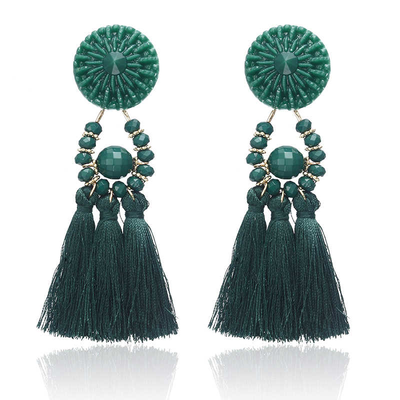E0502 Retro Brincos Women Brand Boho Drop Dangle Fringe Earring Vintage Ethnic Statement Bead Tassel Earrings Fashion Jewelry