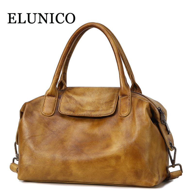 ELUNICO European and American Style Genuine Leather Handbag Women Cow Leather Messenger Shoulder Bag Female Tote Bags Sac A Main esufeir brand genuine leather women handbag cow leather patchwork shoulder bag fashion women messenger bag tote bags sac a main