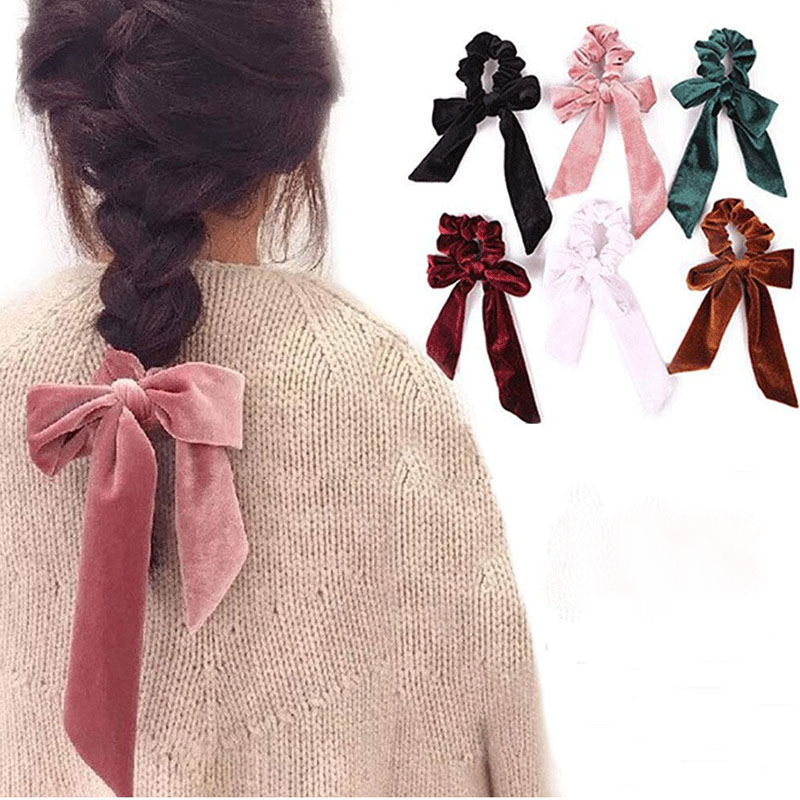 Fashion Women Headbands Casual Coral Fleece Beauty Headwear Ribbon Bow Girls Tie Elastic Women's Hair Bands