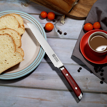 High Quality SUNNECKO 8″ Bread Knife for Breakfast Christmas Gift German 1.4116 Steel Blade Kitchen Knives Color Wood Handle