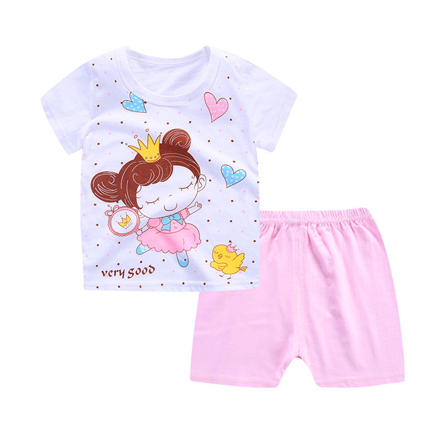 2019 New Summer Baby Girls Clothing Sets Floral Hello Kitty Baby Girl Clothes Infant Cartoon Costume T-shirt Suit 4
