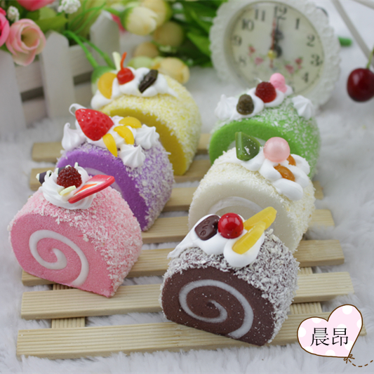 6pcs/lot Home Artificial fake food Decor lifelike color model cake colorful cute delicious fruit swiss roll gift natural teach