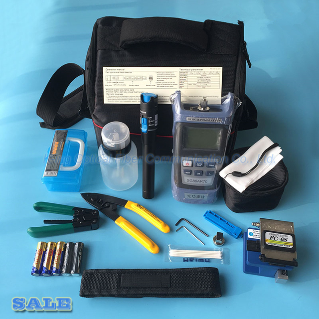 14 STKS Glasvezel FTTH Tool Kit met FC-6S Fiber Cleaver en Optical Power Meter 5 km Visual Fault Locator Draad stripper