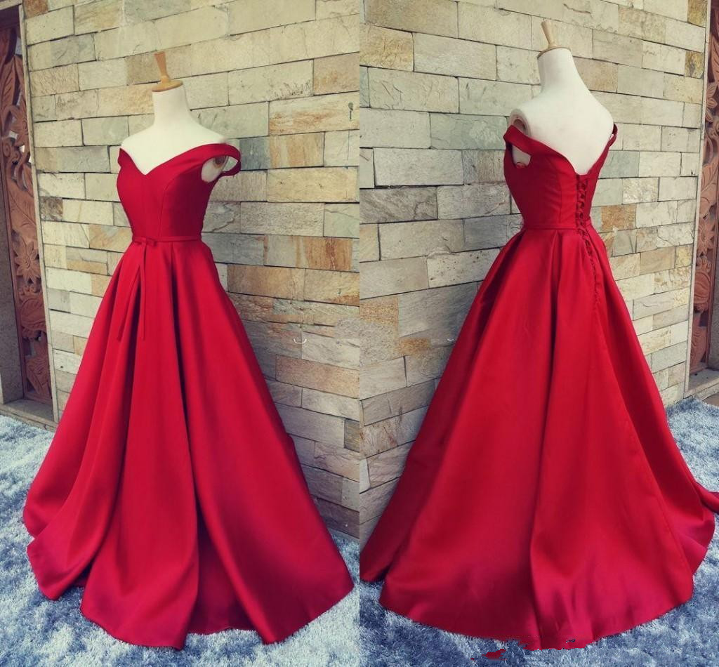New Simple Dark Red   Prom     Dresses   V Neck Off The Shoulder Ruched Satin Custom Made Backless Corset Evening Gowns Formal   Dresses