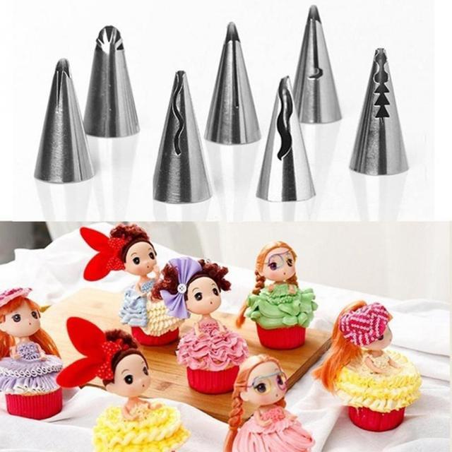 7Pcs/set Fondant Cake Piping Icing Nozzle Sets