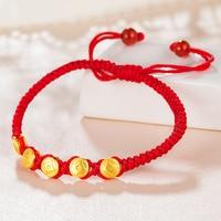 New Arrival Pure 24K Yellow Gold Bracelet String Weave 999 Gold Coin Bracelet 1g