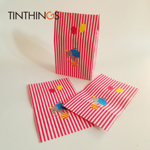 30 Pcs kraft paper gift bag Candy cookies Red Stripe Animal bags birthday Party kids packaging oil-proof