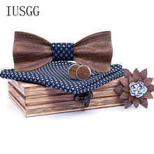 Mens 4pcs Wooden bow tie Set Men Hankerchief Wood Bowtie Cufflinks Necktie for Bussiness Wedding Bowkbnots 3D Bow Tie