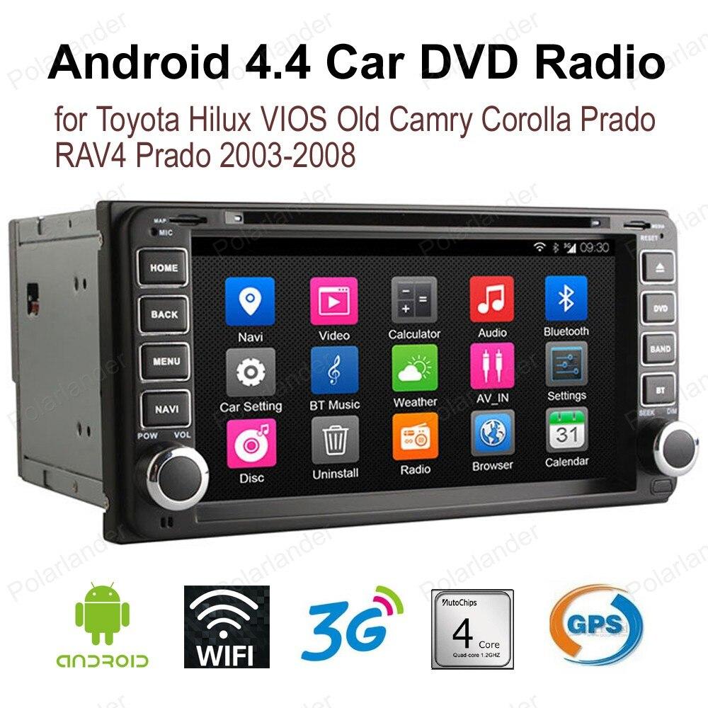 Android4.4 7 pouce De Voiture DVD Pour T/oyota H/ilux V/IOS Vieux C/amry C/orolla Pr/tarder R/AV4 Pr/tarder 2003-2008 2 din FM SUIS GPS radio