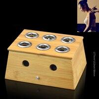 Chinese mugwort leaf burning 6 Holes Holder Bamboo wood Moxa Box for Acupuncture Points Moxibustion Massage