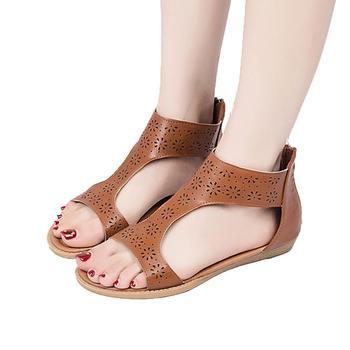 MUQGEW 2018 Women shoes Roman Hollow Out Flower sandals shoes Artificial leather Gladiator Sandal Back Zip Sandal Mujer Sandalia римские сандали