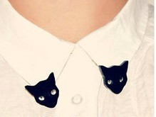 Fashion cute black cat collar clip brooches for women girl wholesale BR53