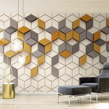 Envío Gratis mosaico cuadrado patrón geométrico 3d papel pintado con cubos mejor oferta fondo especializado Mural personalizado en la sala de