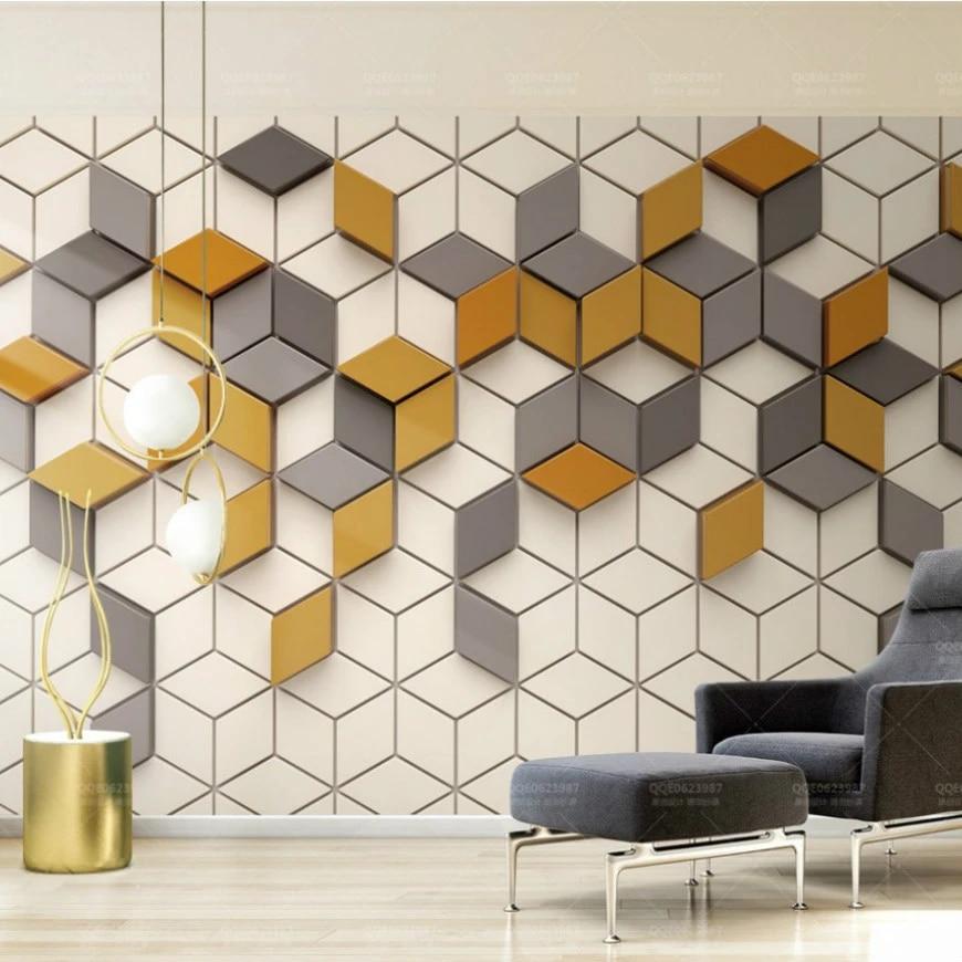 Geometric Nostalgic TV Background Wall Living Room Mural Wall 3D Cube Wallpaper