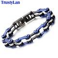 Trustylan punk cadeia pulseira homens da motocicleta da bicicleta chain link pulseiras bangles moda de presente da jóia dos homens de aço inoxidável azul