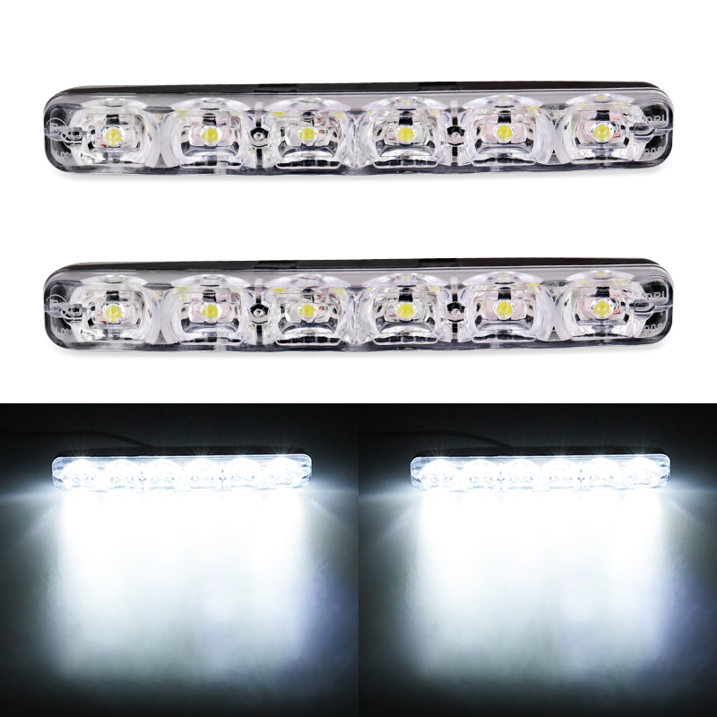 1Pair DRL LED Car Daytime Running Lights 6 LEDs DC 12V Auto Fog Light Driving Lamps Car-syling Super Bright