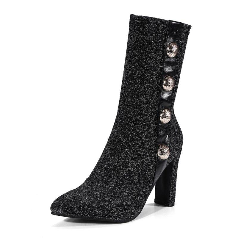 Chaussette Talons Cheville Argenté Chaussures Bottes Haute Bout Dames Sur Pointu Stiletto Pompes silver 9 Noir Femmes Black Stretch Tissu Slip Cm nwN0PyvOm8