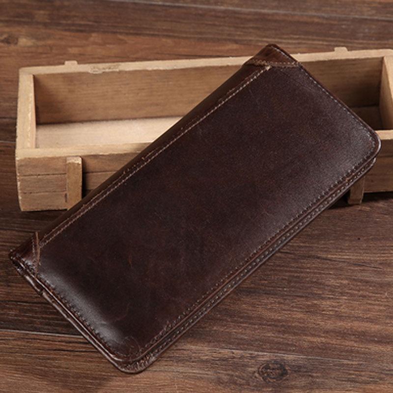 Véritable cuir véritable peau de vache hommes tendance à deux volets sac à main longue concepteur argent poche porte-carte pochette Vintage homme portefeuille