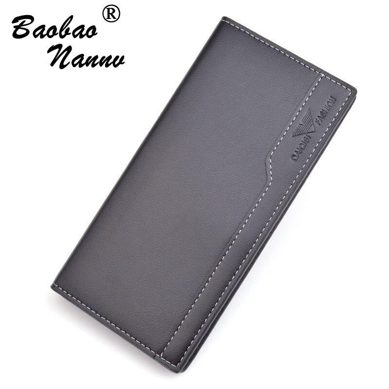 Men's Wallets New 2019 Business Soft Leather Long Thin Wallet Card Holder Fashion Men Purse Multi-function Clutch Male Wallets