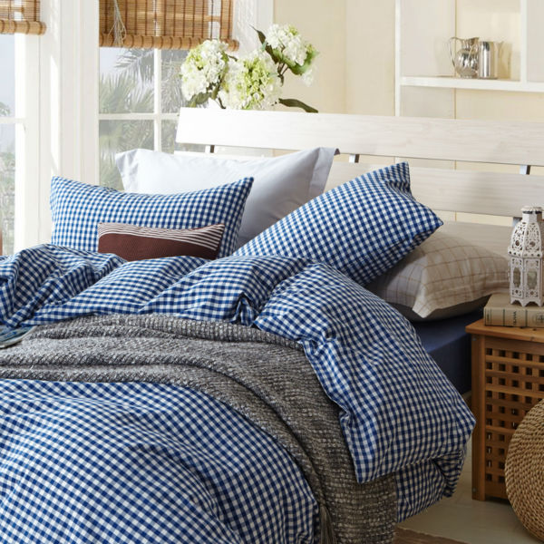 Small Blue Plaid Duvet Cover Sets For Single Or Double Bed 100 Cotton Bedcover Bedding Set Sheet Pillowcase In From Home