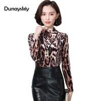 Senhora do escritório Blusa Nova Outono Luva Longa Das Mulheres Leopard Camisas Mulher Roupas Desgaste do Trabalho Gola Camisa das Mulheres de Negócios XXXL