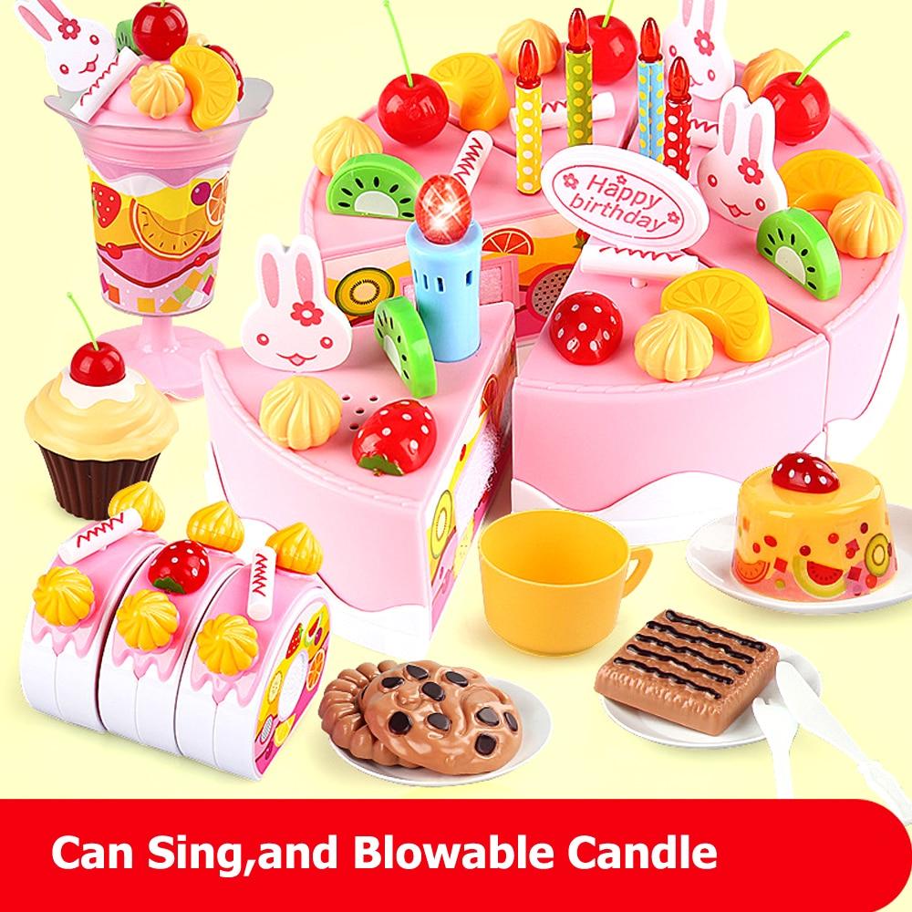 Fabulous 37 54 75Pcs Set Diy Pretend Play Birthday Cake With Music Light Personalised Birthday Cards Veneteletsinfo