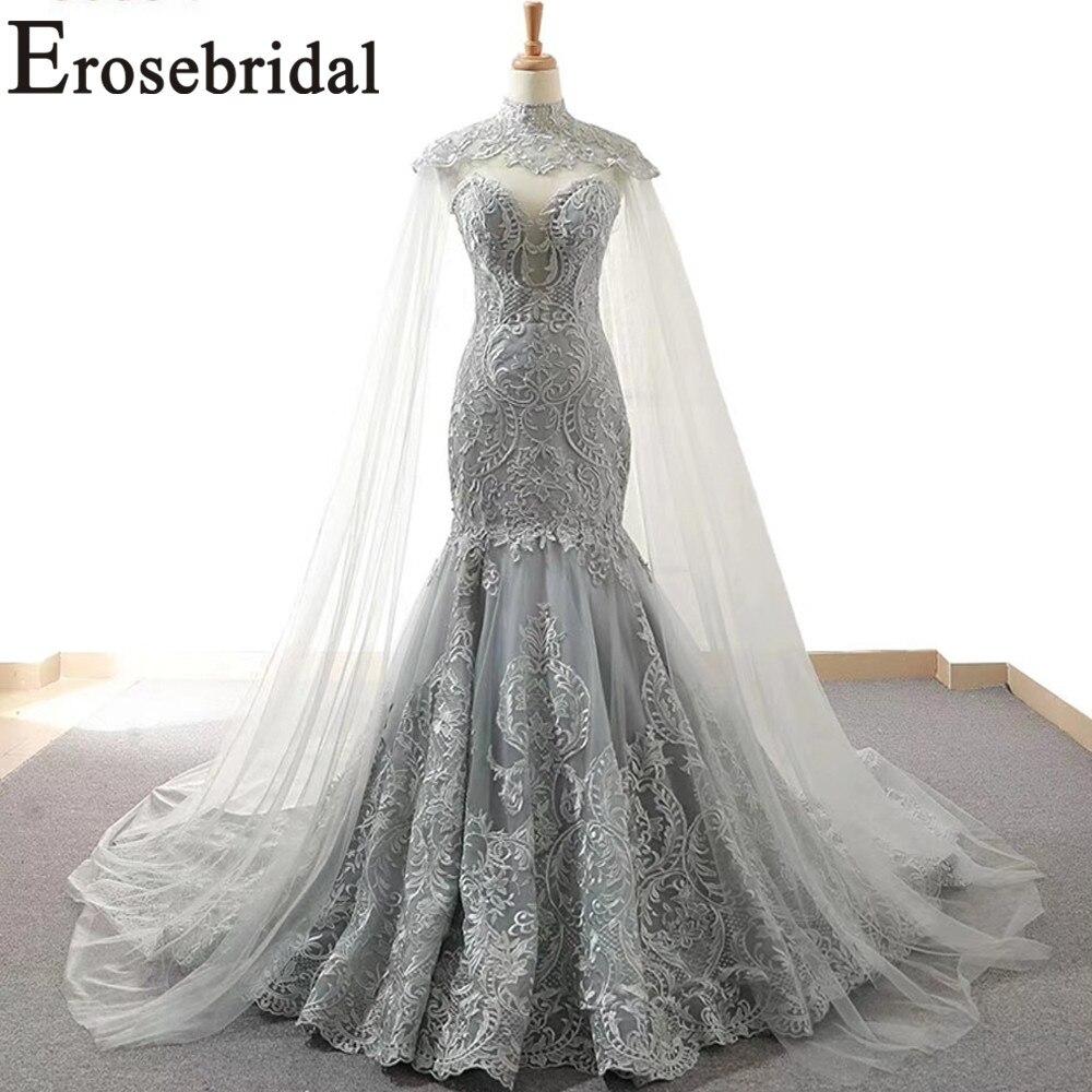 2019 nouvelle robe de mariée sirène Design avec Cape yy046