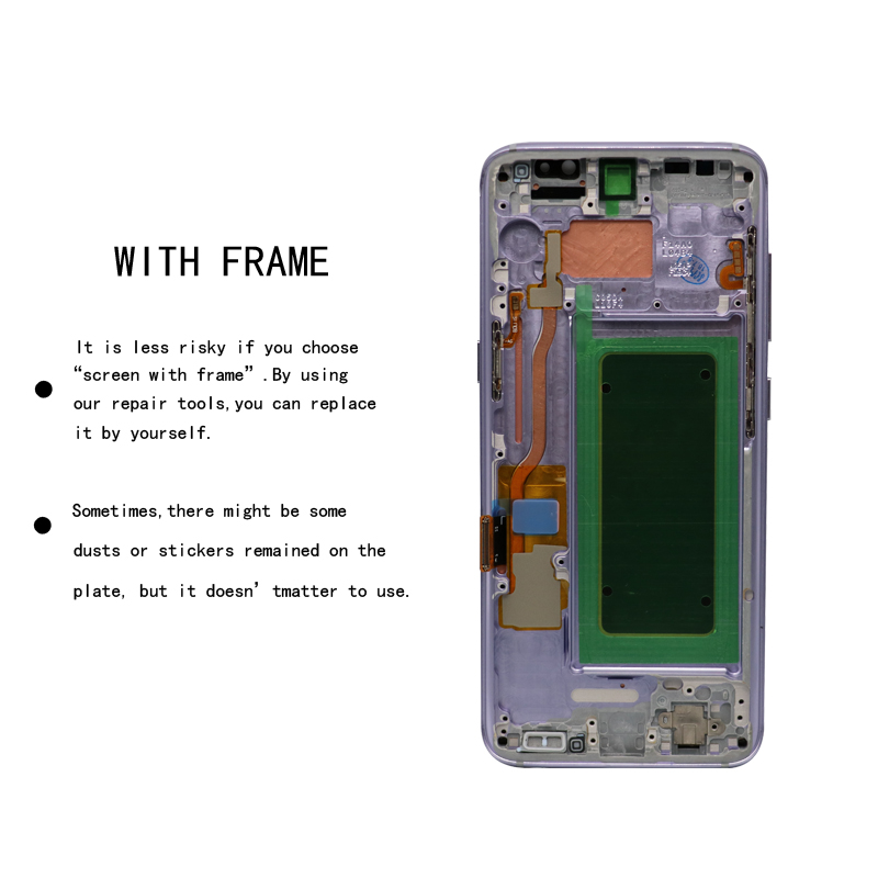 HTB1PbnpbfvsK1RjSspdq6AZepXaP ORIGINAL 5.8'' S8 Display Screen for SAMSUNG Galaxy S8 Screen Replacement LCD Touch Digitizer Assembly G950F G950 with FRAME
