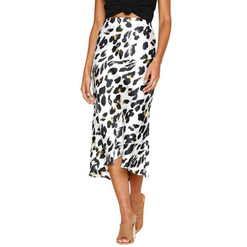 c14cc5a0b 2019 Sexy Women Beach Dress Leopard print Summer Autumn Plus Size Skirt  Female Skirts Jupe Femme