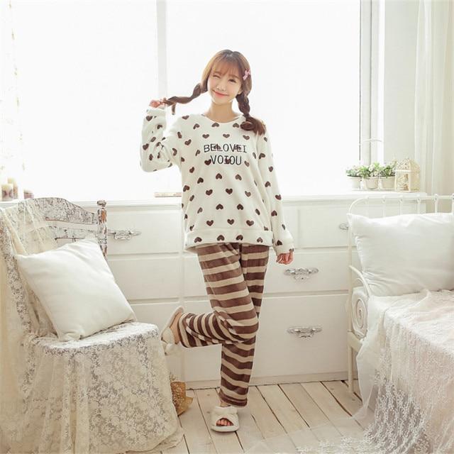 Женские зимние пижамы толстые коралловые бархат леди теплый сердце Xiaotao Корейский длинными рукавами фланель костюм Коралловых бархатной пижамы