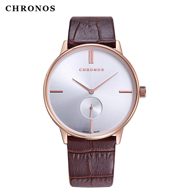 CHRONOS Men Women Couple Watches Fashion Leather Business Watch Casual Watch wit