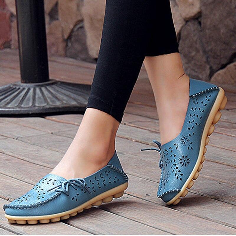 Primavera Mujeres Pisos zapatos de cuero de La Pu de las mujeres zapatos casuale