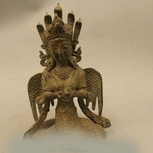 """S DD DS 1"""" Тибет Тибетский Бронзовый Будда Нага Каня 5 Змеиной Головы Кван-инь Статуя Будды"""