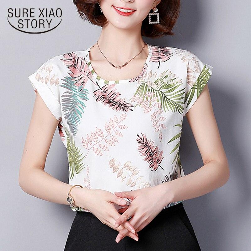 2018 nouveau printemps mode en mousseline de soie blanc femmes tops à manches courtes imprimer o-cou casual simple T-shirts plus la taille vêtements D571 30