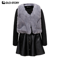GLO STORY Children Girls 2018 Winter Warm Fur Vest with Wool Liner Dress Sets Kids Fashion Christmas Outfit Suits Clothes 7498