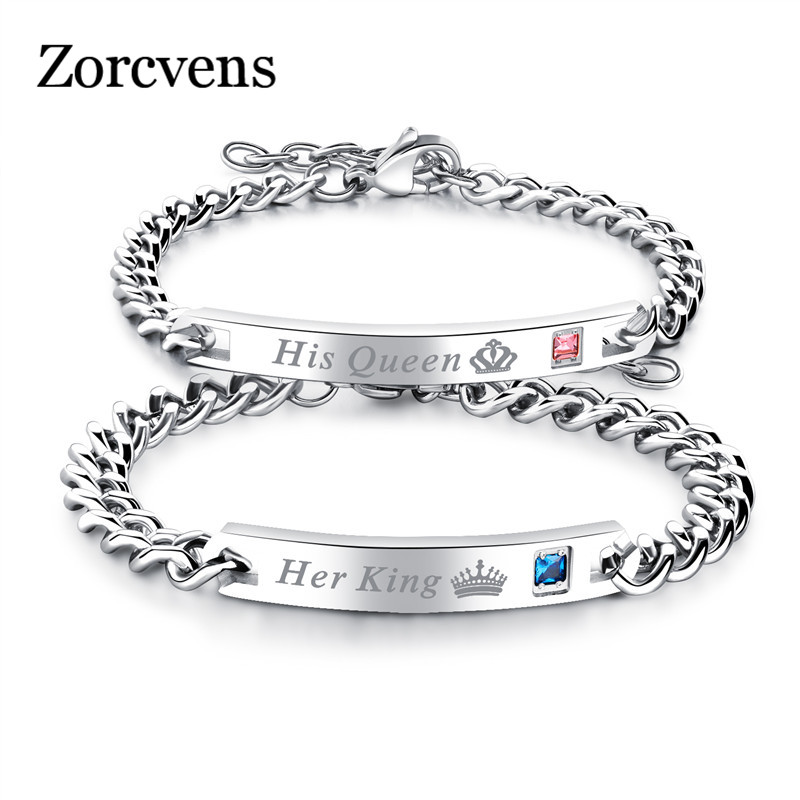 ZORCVENS Her King Bracelets His Queen Couple Bracelets with Crytal Stone Boyfriend Girlfriend Lover Jewelry Drop Shipping