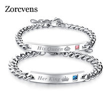 ZORCVENS Her King Bracelets His Queen Couple Bracelets with Crytal Stone Boyfriend Girlfriend Lover Jewelry Drop Shipping(China)