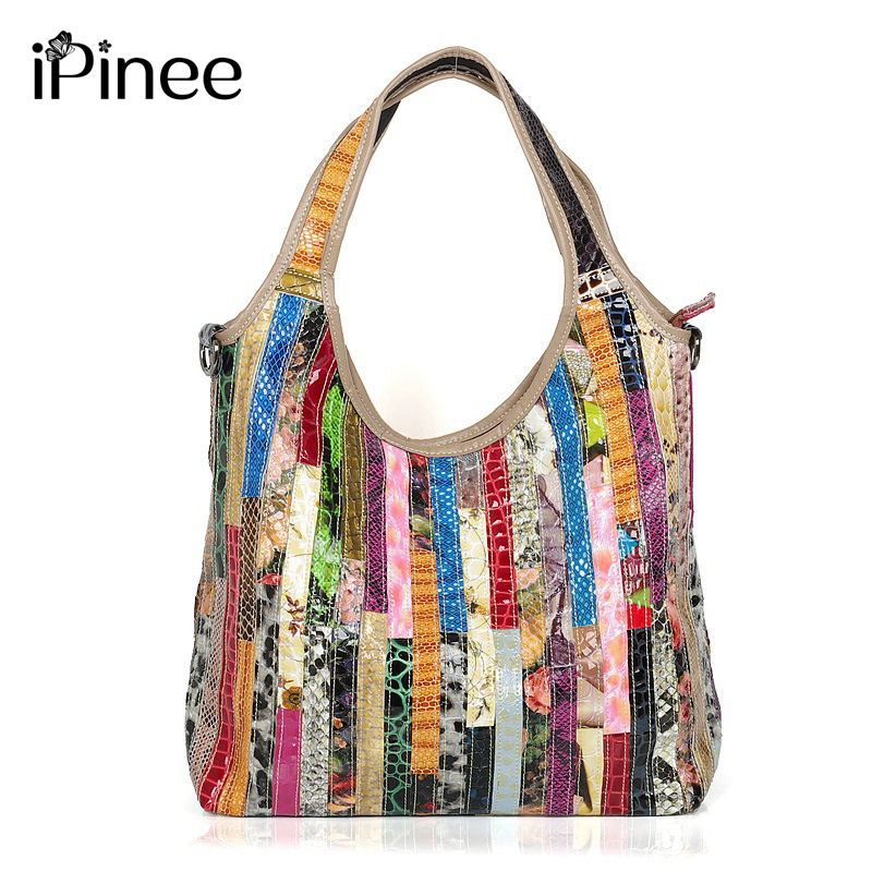 iPinee Brand Colorful Snake Pattern Ladies Tote 100 Genuine Leather Fashion Women s Real Cowhide Crossbody