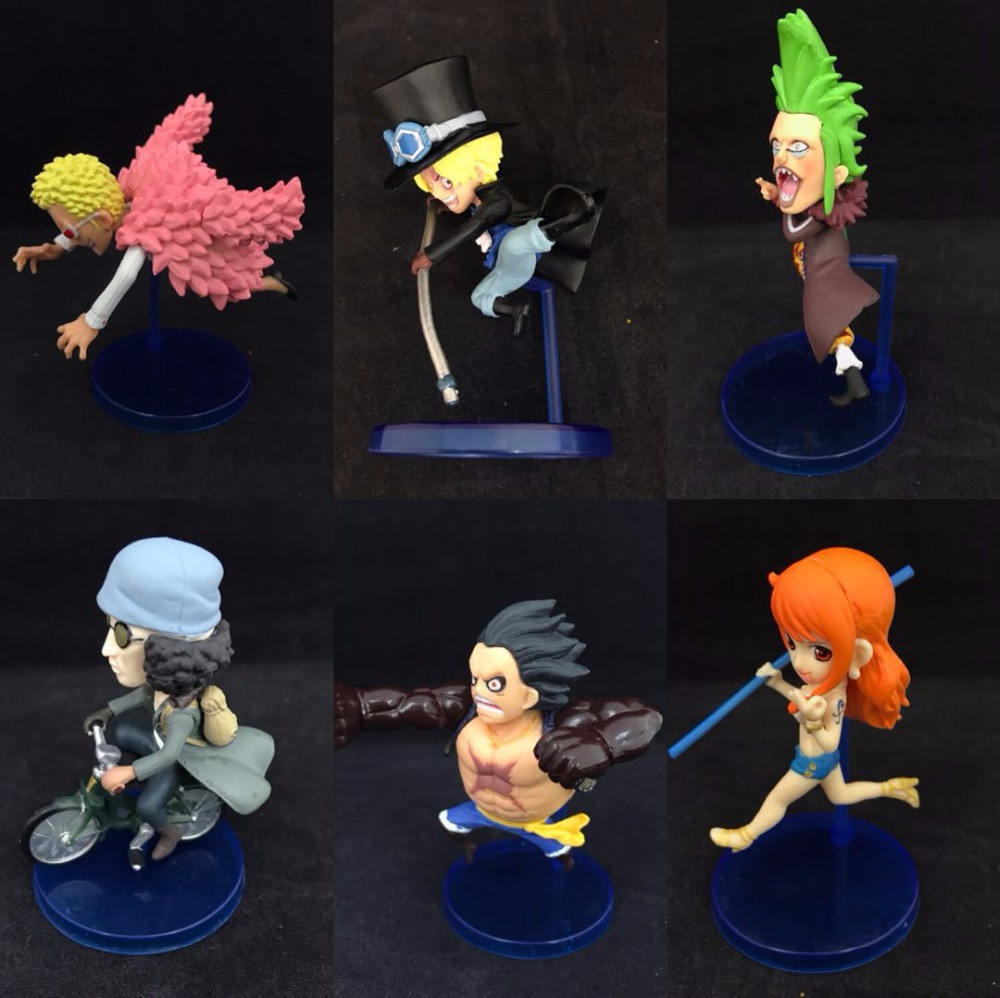 Anime ONE PIECE 20th Anniversary Luffy Nami Kuzan Doflamingo PVC Action Figures Collectible Model Kids Toys Doll 8CM 6pcs/set
